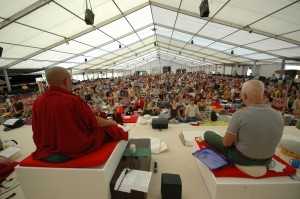 Lecture in meditation tent by Sherab Gyaltsen rinpoche with lama Ole Nydahl