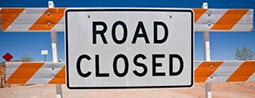Road closed due to major roadworks